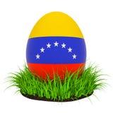 Wielkanocny jajko z flagą Wenezuela w zielonej trawie, 3D rendering royalty ilustracja