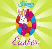 Wielkanocny kartka z pozdrowieniami z kolorowymi jajkami i królika królikiem Fotografia Royalty Free