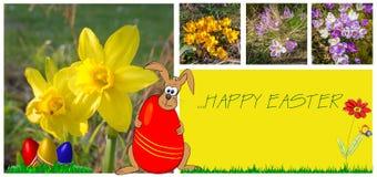Wielkanocny kartka z pozdrowieniami z uroczymi obrazkami Obraz Stock
