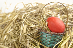 Wielkanocny kosz z czerwonym jajkiem obrazy stock