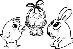 Wielkanocny kosz z jajkami, Easter królikiem i kurczątkiem, Zdjęcia Stock