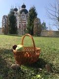 Wielkanocny kosz z owoc i jajkami na trawie zdjęcie stock