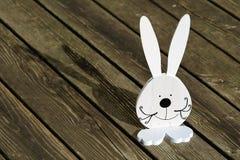 Wielkanocny królik, Śliczny biały królik na ciemnym Drewnianym tarasie, tło fotografia royalty free
