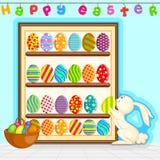 Wielkanocny królik dekoruje malującego jajko ilustracja wektor