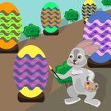 Wielkanocny królik dekoruje wakacyjnych jajka ilustracja wektor