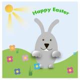 Wielkanocny królik figlarnie z malującymi jajkami Obrazy Royalty Free