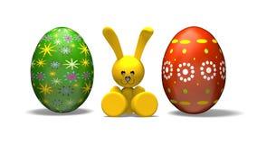 Wielkanocny królik i barwioni jajka, alfa matte royalty ilustracja