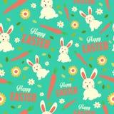 Wielkanocny królik i wiosny Tapetowy Bezszwowy Deseniowy tło ilustracji