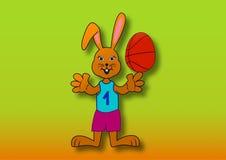 Wielkanocny królik jako gracz koszykówki Zdjęcie Royalty Free