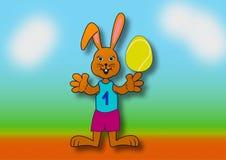 Wielkanocny królik jako gracz w tenisa Zdjęcia Royalty Free