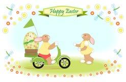 Wielkanocny królik jako hulajnoga dostawa duży Easter jajko Zdjęcia Stock