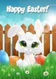Wielkanocny królik jest usytuowanym na trawie wśród Wielkanocnych jajek ilustracja wektor