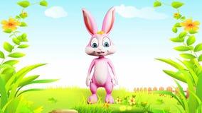 Wielkanocny królik mówi cześć ilustracji