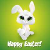 Wielkanocny królik na zielonym tle ilustracja wektor