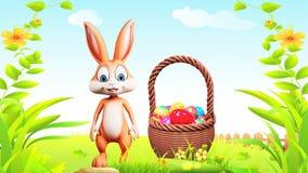 Wielkanocny królik robi walkowerowi z jajkami koszykowymi ilustracji
