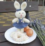 Wielkanocny królik z ciastkami na lawendowym tle Obrazy Royalty Free