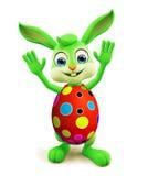 Wielkanocny królik z colourful jajkami mówi pozę cześć Zdjęcia Royalty Free