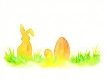 Wielkanocny królik z Easter jajek akwareli obrazem ilustracja wektor