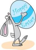 Wielkanocny królik z Hoppy Easter jajkiem Fotografia Stock