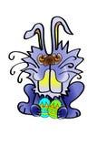 Wielkanocny królik z jajkami i rysunek na one chłopiec kreskówka zawodzący ilustracyjny mały wektor Śliczny królika charakter dla Obraz Stock
