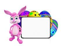 Wielkanocny królik z jajkami i signboard ilustracja wektor