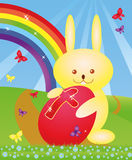 Wielkanocny królik z jajkiem Zdjęcia Royalty Free