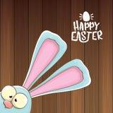 Wielkanocny królik z kaligraficznym tekstem szczęśliwy Easter odizolowywający na wooned tle wektorowy Easter kartka z pozdrowieni ilustracja wektor
