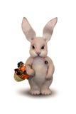 Wielkanocny królik z koszem kwiaty Obrazy Stock