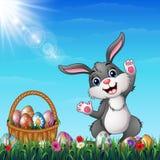Wielkanocny królik z Wielkanocny koszykowy pełnym dekorujący Wielkanocni jajka w trawy polu ilustracji