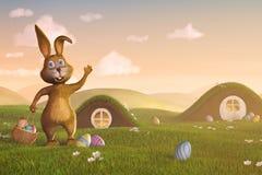 Wielkanocny królik z koszykowymi i Wielkanocnymi jajkami Obraz Stock