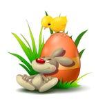Wielkanocny królik z kurczakiem Obrazy Royalty Free