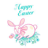Wielkanocny królik z parą jajka i łękiem ilustracja wektor