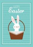 Wielkanocny królik z Wielkanocny koszykowy pełnym Wielkanocni jajka ilustracja wektor