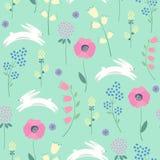 Wielkanocny królik z wiosną kwitnie bezszwowego wzór na zielonym tle ilustracja wektor