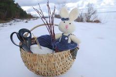 Wielkanocny królik z wiosną wierzba Zdjęcia Royalty Free