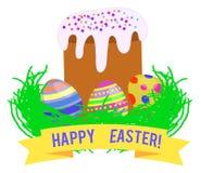 Wielkanocny kulich, malujący jajka w trawie ilustracja wektor