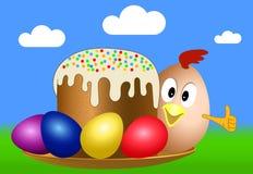 Wielkanocny kurczątko na talerzu z wielkanocą Zdjęcia Stock