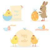 Wielkanocny kurczak i królik Fotografia Royalty Free