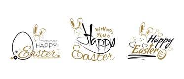 Wielkanocny literowanie projekt ustawiający z Wielkanocnym królikiem Zdjęcie Stock