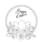 Wielkanocny motyw z białymi jajkami i różami, ilustracja ilustracji
