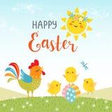 Wielkanocny projekt śliczni szczęśliwi kurczątka royalty ilustracja