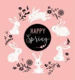 Wielkanocny projekt z ślicznym królikiem i tekstem, ręka rysująca ilustracja Fotografia Stock