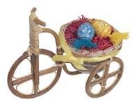 Wielkanocny rower z błękitnymi i żółtymi jajkami Zdjęcia Stock