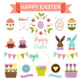 Wielkanocny scrapbook ustawiający - etykietki, ikony i inni dekoracyjni elementy, Obrazy Stock