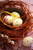 Wielkanocny skład z barwionymi jajkami wielkanoc szczęśliwy Fotografia Royalty Free