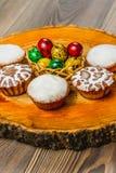 Wielkanocny skład na drewnianym tle Jajko Zdjęcie Royalty Free