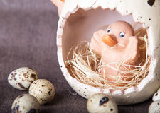 Wielkanocny skład Wielkanocni jajka Obraz Royalty Free