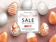 Wielkanocny sprzedaż sztandaru projekt z kwadrat ramą, różanymi złocistymi ozdobnymi jajkami i confetti, ilustracji