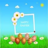 Wielkanocny sprzedaż sztandaru tła szablon z pięknymi kolorowymi wiosna kwiatami, jajkami i Płaska ilustracja na whi Obrazy Stock