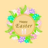 Wielkanocny sztandar z kolorowymi jajkami, zieleń liśćmi i królików ucho, ilustracji